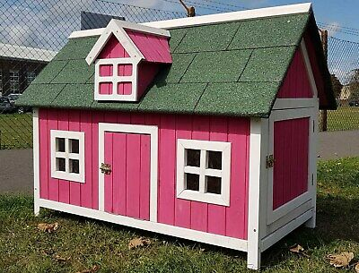 Chicken Coop Run Hen House Poultry Ark Home Nest Box Coops Rabbit Hutch Pink