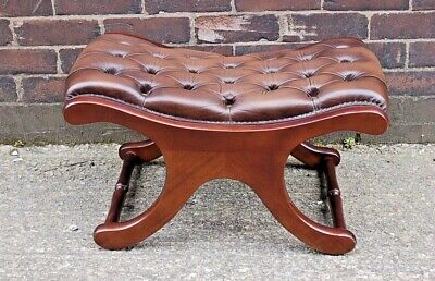 Beautifull Victorian Style Antique Brown Leather X Frame Chesterfield Footstool