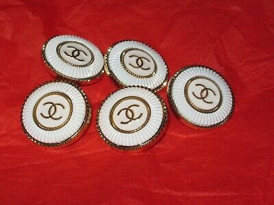 CHANEL 5  BUTTONS  sz 20mm WHITE gold cc logo, 5 pc  FREE SHIPPING