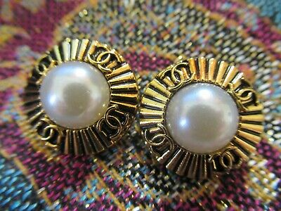CHANEL 1  BUTTON  sz 22mm PEARLS gold cc logo, 1 pc  FREE SHIPPING