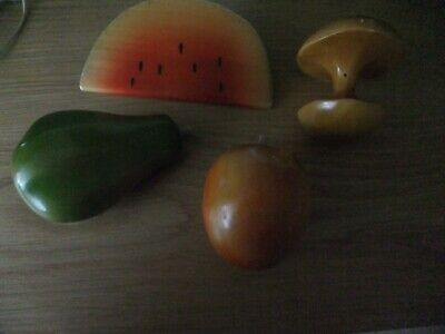4 pieces of wooden fruits apples , melon, pear ornamental
