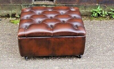 Beautiful  Antique Brown Leather Chesterfield Style Storage  Footstool