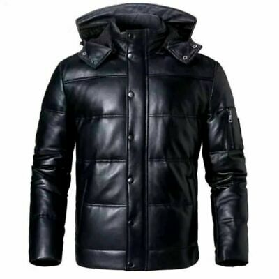 Mens Puffer WinterDown Handmade Warm Leather Jacket Real lambSkin Leather