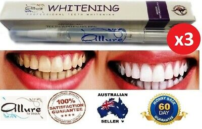 NEW 3x Allure Advanced Teeth Whitening Pen Tooth Gel 6%HP High Strength Home Use
