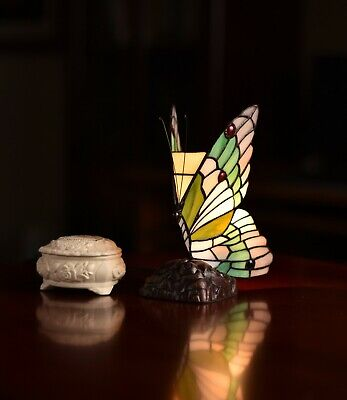 Joanne Tiffany@vivid Butterfly Tiffany Stained Glass Art Deco Fairy Accent Lamp