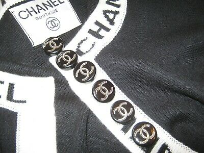 CHANEL 6 BUTTONS BLACK 19 mm , 0.8''  RESIN silver cc logo set of 6