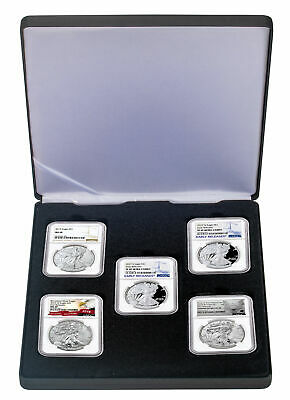 5 Piece Set 2019 $1 American Silver Eagle Type Set NGC MS69 + PF69 SKU59296