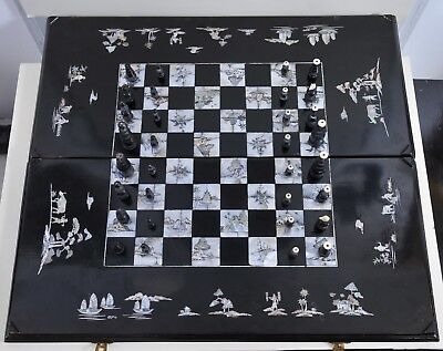 Antique Asian Chess and Backgammon game ith seashell inlays,