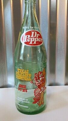 Vintage Dr. Pepper Opened 32 Oz Green Glass Commemorative Bottle - Folklife - 78