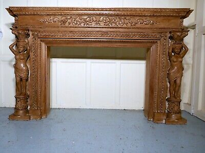 Large 19th Century Adams Style Carved Fire Place