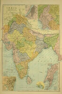 1912 Large Antique Map India Ceylon Calcutta Burma Bombay Madras Mysore