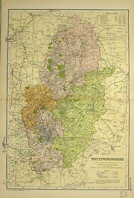 1902 Antique Map Nottinghamshire Mansfield Nottingham Newark Trent Tuxford