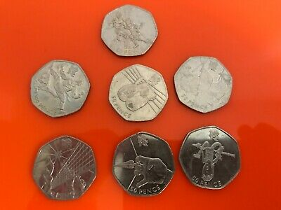 Set of 7 Olympic 50p coins