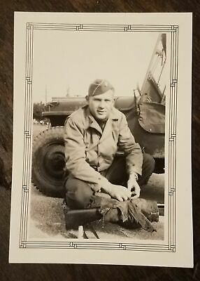 Vintage WWII Photograph US Army Soldier Jeep Rifle WW2 photo