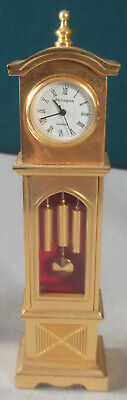 Vintage, Solid Brass Miniature Clock - Long Case / Grandfather Design, Working