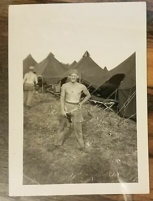 Vintage WWII Photograph US Army Shirtless Soldiers Tents Holster WW2 photo