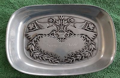 The Wilton Co Pewter Dish Swooped Love Birds Larry Debbi Engraved Vintage