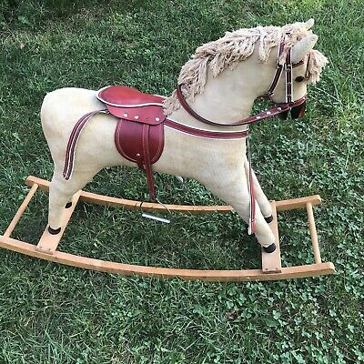 Vintage German Rocking Horse. Good Condition. Wood, Leather.