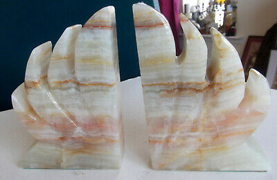 Superb, Vintage Hand Carved Solid Mexican Onyx Marble Bookends - Damaged