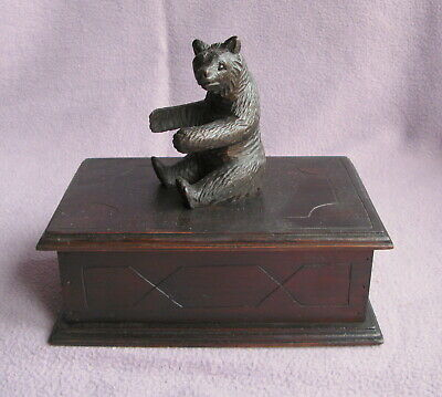 Antique Carved Wood Black Forest Large Bear Box