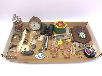 Mixed Vintage Lot Junk Drawer Items Miscellaneous Pieces Clock Candle Holder