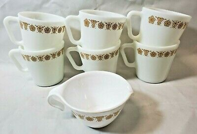 Vintage Lot of 6 Pyrex D-Handle Butterfly COFFEE CUPS / MUGS & 1 Creamer Pitcher