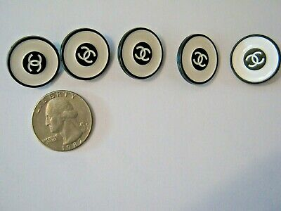 CHANEL 5  white black blazer BUTTONS lot of 5 sz 18mm  cc logo, five free ship