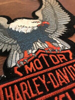 "Harley-Davidson Silver Up-Wing Eagle Patch 10"" X 8"" - Rare Orange - Made in USA"