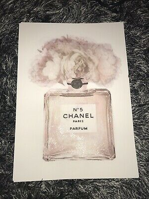Glittered Pink Chanel Perfume Bottle Flowers A4 Card Print