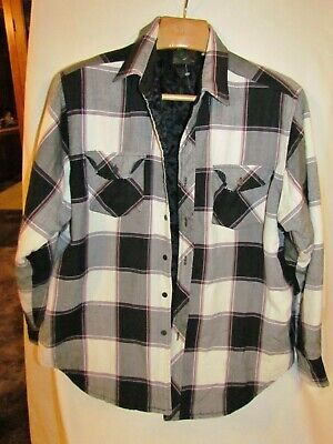 Vtg 70's Pine Grove Heavy flannel Plaid Button Down Shirt Black Gray LARGE LINED