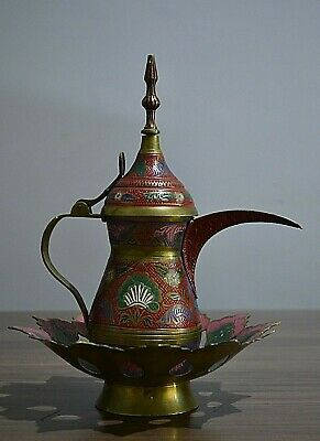 Antiques Old and rare Dallah Damascene  With a dish Decorated with engravings