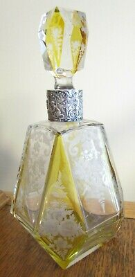 Vtg German Faceted Etched Clear & Yellow Glass Decanter w/ Sterling Silver Neck