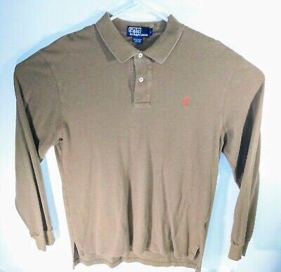 Polo Ralph Lauren Men's Long Sleeve Shirt 1/4 Button Brown Orange Pony Large