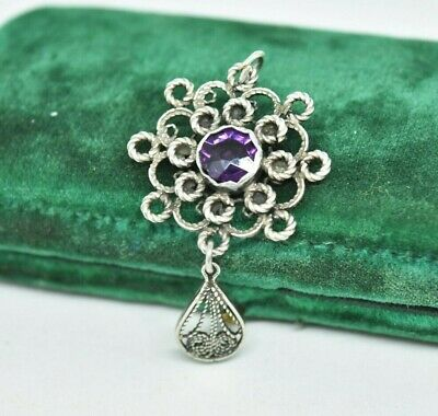 Vintage Art Deco Sterling Silver pendant with Amethyst stone