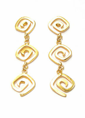 ACROSS THE PUDDLE 24k GP Pre-Columbian Long Life Square Spirals Dangle Earrings
