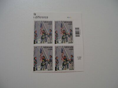 USA Stamps America Responds 9/11 Heroes Stamp Act 2001 - Plate Block - MNH