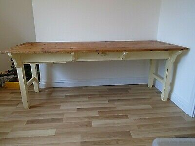 """6' 9"""" Antique Pine Painted Base French 2 Drawer Farmhouse Kitchen Dining Table"""