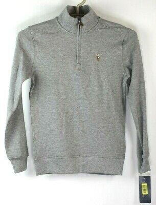 Polo by Ralph Lauren Boys Gray 1/4 Zip Pullover Size 7 NWT MSRP $45