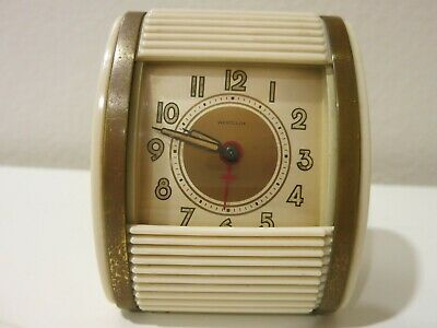 Vintage Westclox Travel Alarm Clock Wind Up, Roll Cover 1950's Working