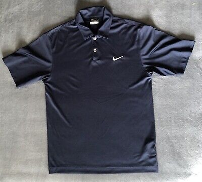 Nike Golf Mens Dri Fit Solid Fitted Short Sleeve Polo Shirt Navy Size Small