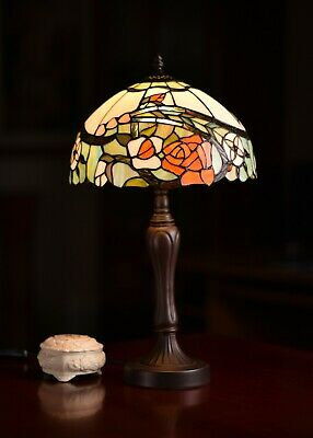 Amazing Flower Style Stained glass Tiffany Bedside Table Lamp