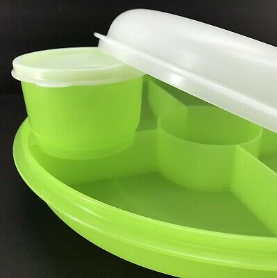 Tupperware Small Serving Center Divided Tray Light Green w/Snack Cup New