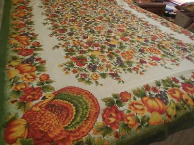 "Vintage 1980's Fabric Fall Thanksgiving Turkey Pumpkins Tablecloth 60"" X 82"" New"