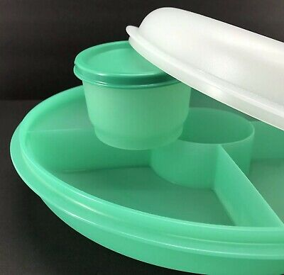 Tupperware Small Serving Center Divided Tray Laguna Green w/Snack Cup New