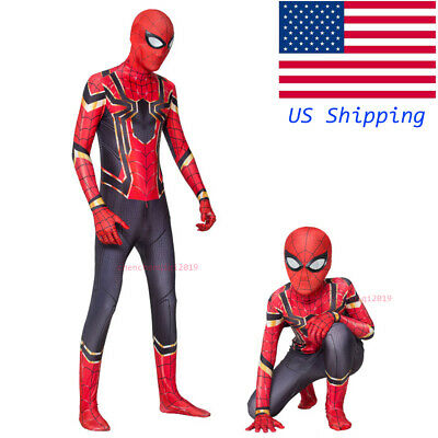 US Shipping Spider-Man Homecoming Iron Spiderman Suit Superhero Cosplay Jumpsuit