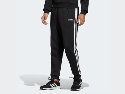 New Men ADIDAS Essentials 3-Stripes Tapered Cuffed Pants (DQ3095)  Black / White