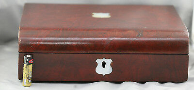Antique Victorian Walnut Veneer Deed Box w/ Mother Of Pearl Decoration c1800s