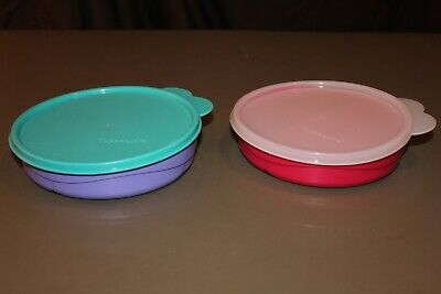 Tupperware Lot 2 Children's Divided Dishes/Bowls Purple & Rose