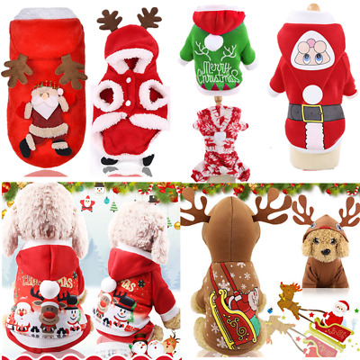 Christmas Costume Cat Dog Pet Puppy Winter Warm Clothing Red Hooded Sweater Vest