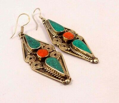 Turquoise & Coral .925 Silver Plated Handmade Earring Jewelry JC6537